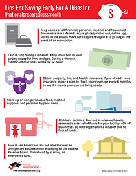 Tips for saving early for a disaster info-graphic