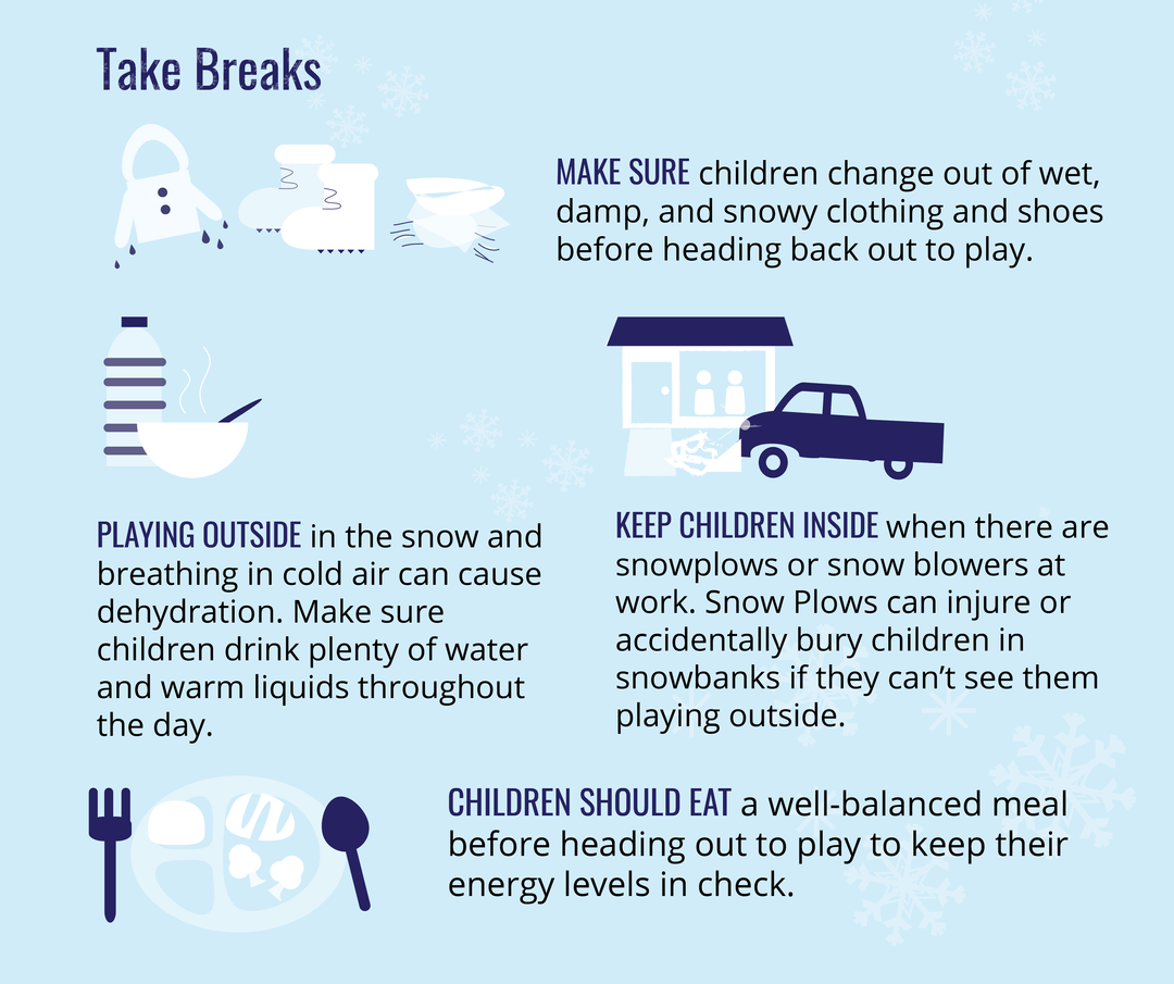 Take Breaks while playing in the snow social tile