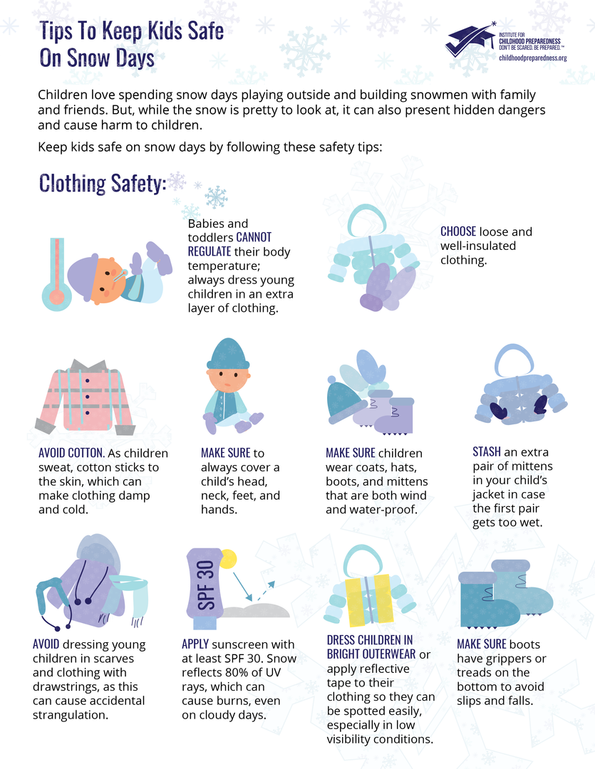 Tips to keep children safe on snow days clothing safety flyers