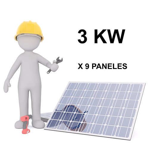 KIT SOLAR ON-GRID - 3 KW - 9 PANELES - INSTALACION INCLUIDA