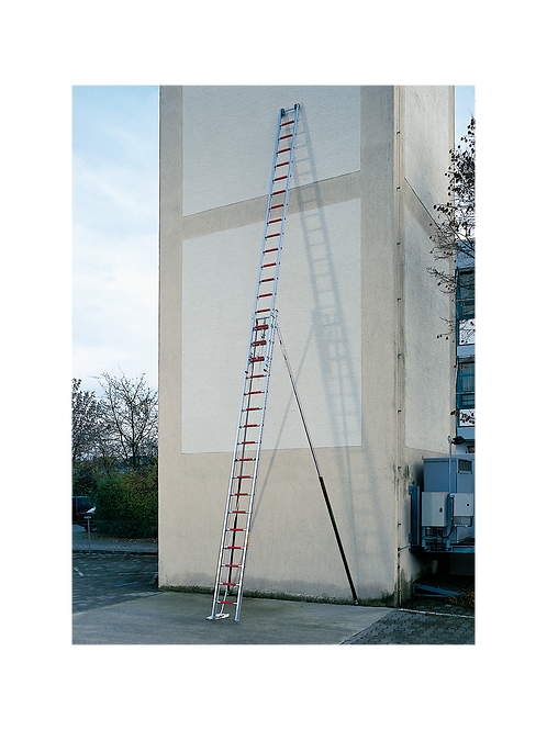 Aluminium 2-part rope operated ladder, with supports