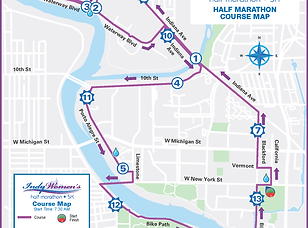 2020 IWH half Marathon course map from m