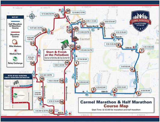 2021 Carmel Marathon and Half Course Map