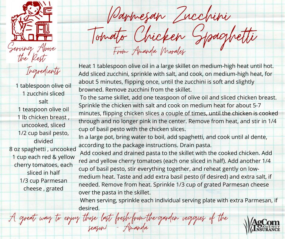 Parmesan Zucchini Tomato Chicken Spaghet