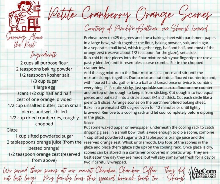 Petite Cranberry Orange Scones