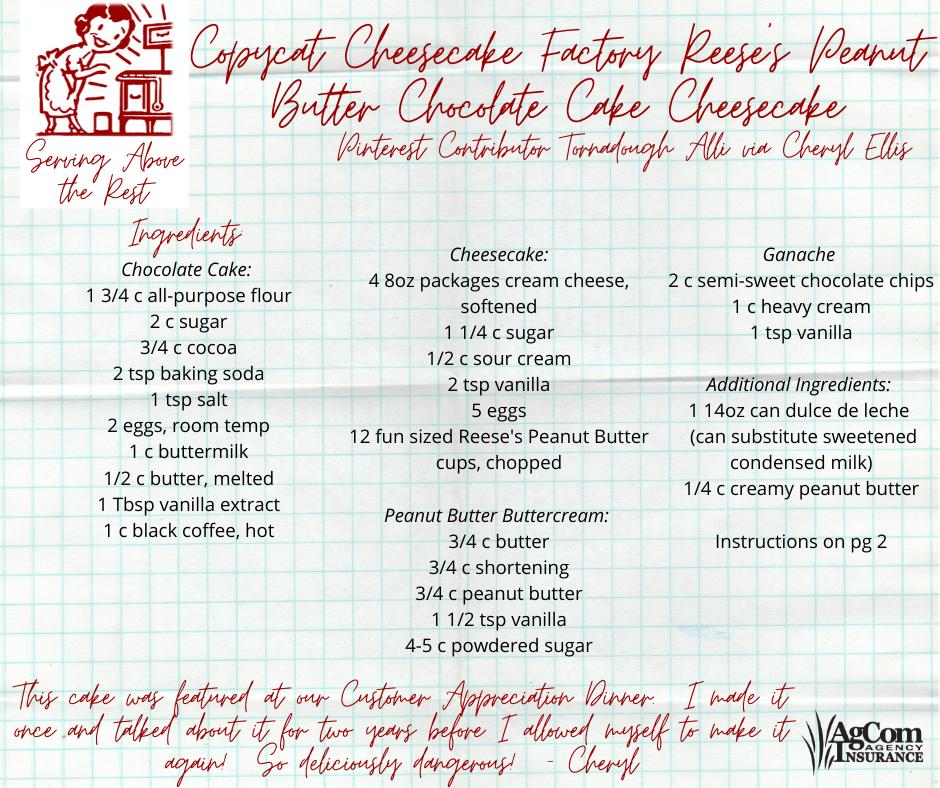 Reese's Peanut Butter Choc Cake Cheesecake p 1