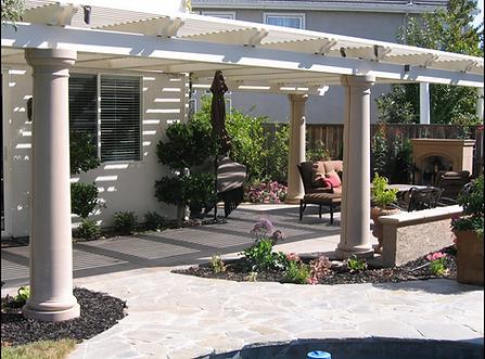 Open lattice patio covers.