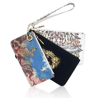 LARGE TRIO wristlet multi-leather pouches