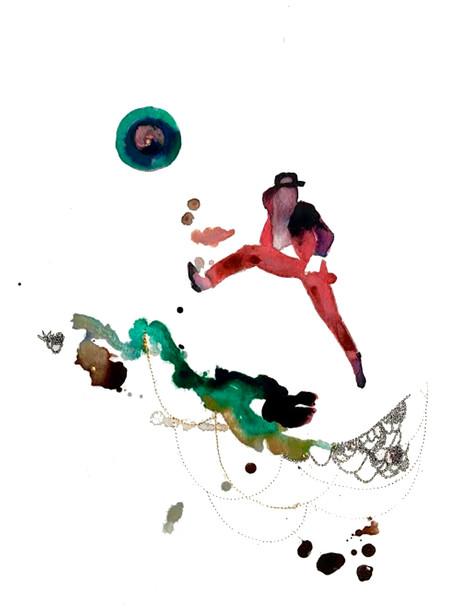 S. Davis Jr |  In serie The malediction of Cham Inks, marker, gold thread, Swarovski stones on paper 350 gr   13 x 18 inches 2020