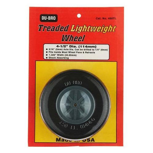 "DUBRO 450TL 4 1/2"" TREADED LIGHTWEIGHT WHEEL (EACH)"