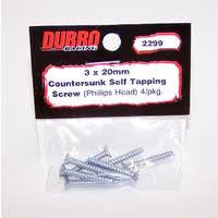 DUBRO 2299 FLAT HEAD SELF TAP SCREWS 3mm X 20mm (8 PKT)