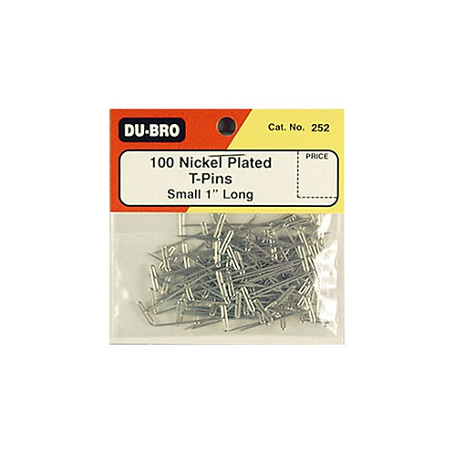 "DUBRO 252 NICKEL PLATED T-PINS 1"" (100 PKT)"