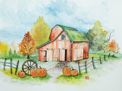 Country Farm In Fall