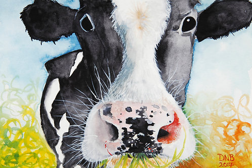 Cow eating grass watercolor art