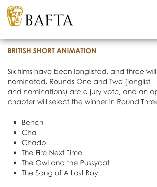 THE FIRE NEXT TIME Longlisted for the Best British Short Animation BAFTA