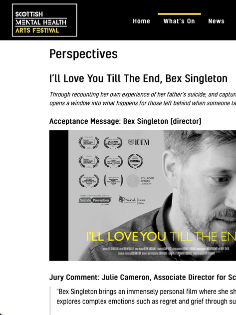 I'LL LOVE YOU TILL THE END Wins Perspectives Award at SMHAF