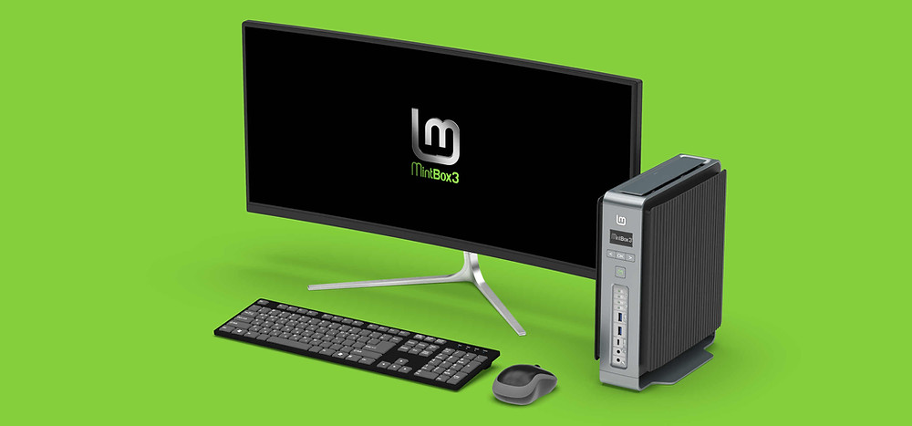 Mintbox3 with Monitor, keyboard and mouse.