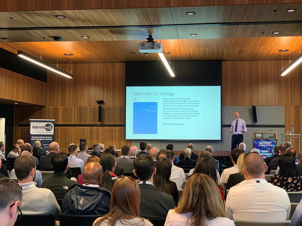 Nick Aldworth, former National Coordinator Protect and Prepare, Counter Terrorisn Policing National HQ, New Scotland Yard, presenting the keynote speech.