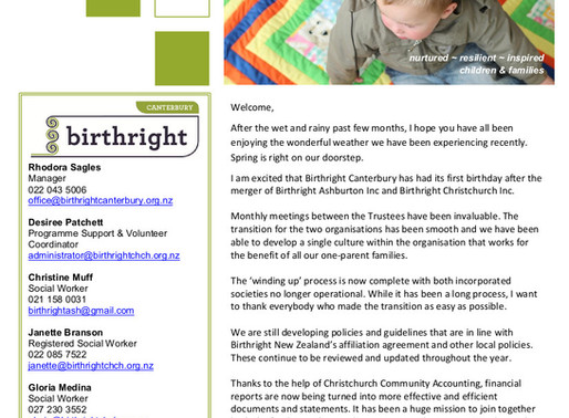 Birthright Canterbury - Supporters, Funders and Partners Newsletter (Issue 2)