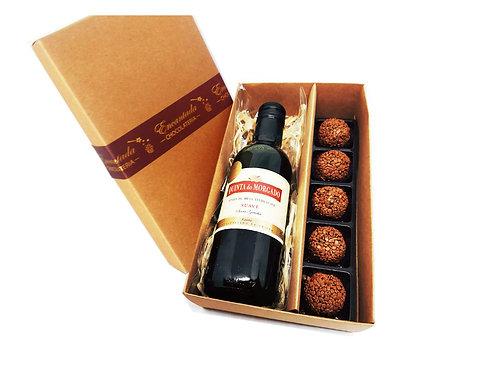 Kit/ Presente com Vinho:  01 Vinho Suave + 05 Brigadeiros Gourmet