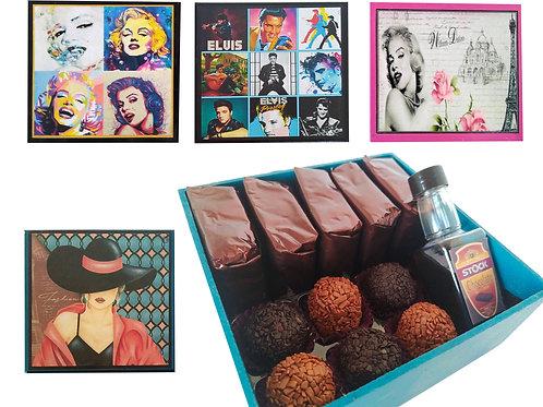 Kit/ Presente (Mdf):  5 Brownies + 6 Brigadeiros + 1 Minibebida