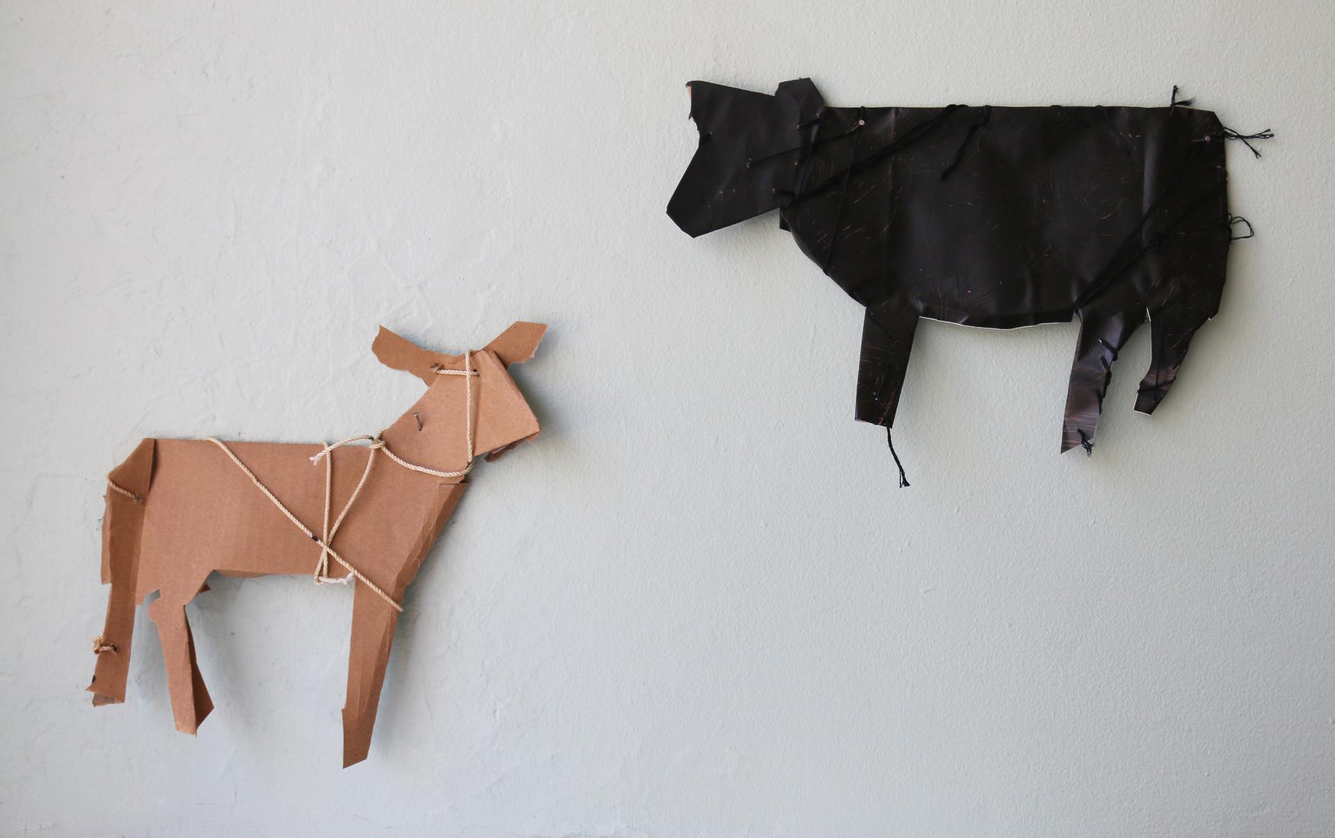 Mule Deer and Heifer (inspired by James Castle)