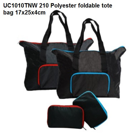 UC1010TNW 210 Polyester foldable tote bag 17x25x4cm