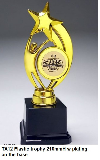 TA12 Plastic trophy 210mmH w plating on the base