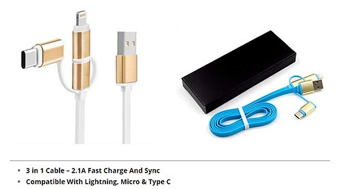 3in1 2.1A data transfer & charging cable with Black folding box