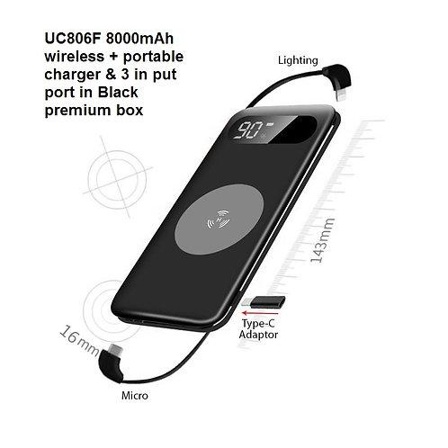 UC806F 8000mAh wireless + portable charger & 3 in put port in Black premium box