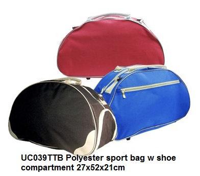 UC039TTB Polyester sport bag w shoe compartment 27x52x21cm