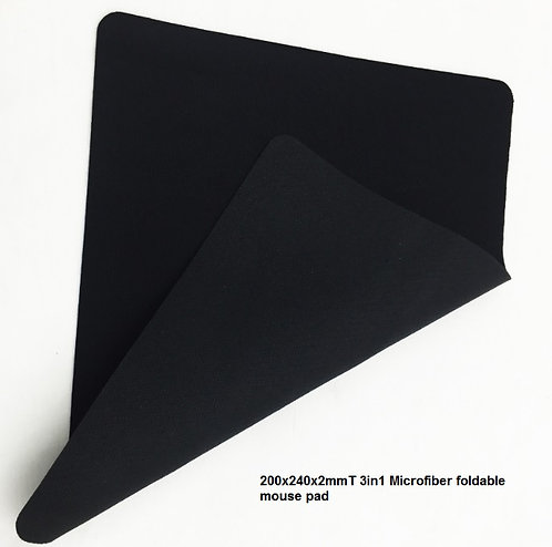 200x240x2mmT 3in1 Microfiber foldable mouse pad