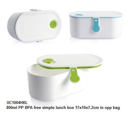 UC1004HKL 800ml PP BPA free simple lunch box 17x10x7.2cm in opp bag