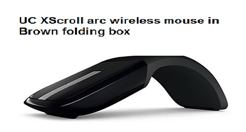 UC Xscroll arc wireless mouse in Brown folding box