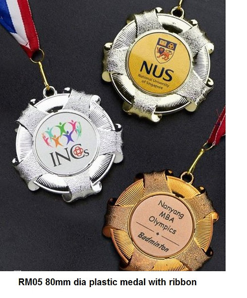 RM05 80mm dia plastic medal with ribbon