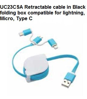 UC23CSA Retractable cable in Black folding box compatible for lightning Micro Ty
