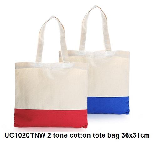 UC1020TNW 2 tone cotton tote bag 36x31cm