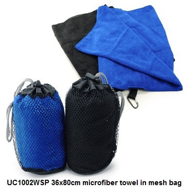 UC1002WSP 36x80cm microfiber towel in mesh bag