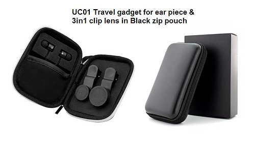UC01 Travel gadget for ear piece & 3in1 clip lens in Black zip pouch