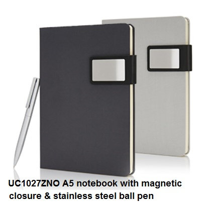 UC1027ZNO A5 notebook with magnetic closure & stainless steel ball pen 15x21.5x1