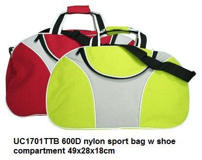 UC1701TTB 600D nylon sport bag w shoe compartment 49x28x18cm