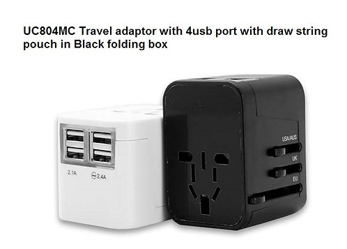 UC804MC Travel adaptor with 4usb port with draw string pouch in Black folding bo