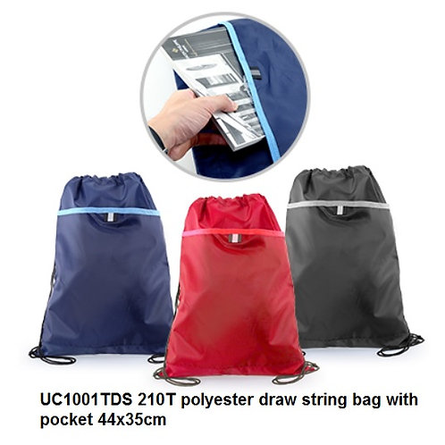 UC1001TDS 210T polyester draw string with pocket 44x35cm