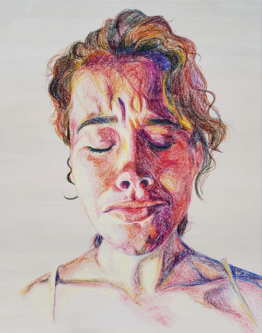 "Linda Wallentine, 2020, oil pastel on canvas (36""x48"")."