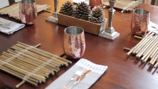 Zero Waste, Minimalist Christmas DIY Bamboo Table Mats