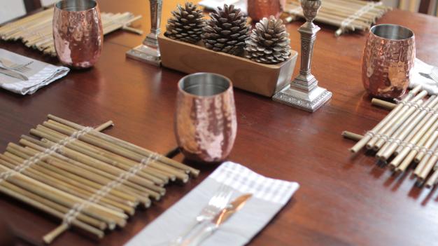 Zero Waste, Minimalist Christmas DIY Bamboo Table Mats