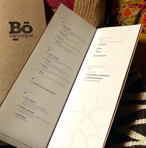 Bo-tannique - Notre carte change à chaque saison avec 4 entrées, 4 plats et 3 desserts au choix, ou un menu…