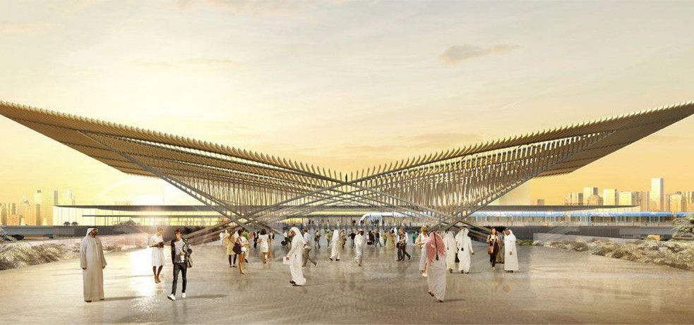 The project is a 14.5 kilometre extension of the Dubai Metro from Nakheel Harbour & Tower Station to the Expo 2020 site in Dubai World Central.  As sub-consultant to CH2M and as part of the Expolink 2020 Consortium (Alstom-Acciona-Gulermak), we are responsible for detailed design and design support during construction for seven metro stations including two underground stations (one with a 25-storey overstation development) and the iconic Expo 2020 station (see image). It is a design-build over 42 months with trial running of trains to commence in March 2020.