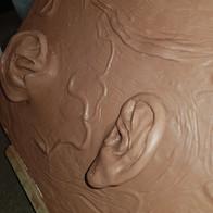 Sculpt board, human ears close-up