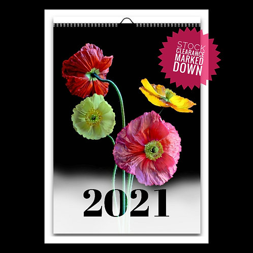 2021 Floral Wall Calendar ~ A4 12 Month Flip Page Ready To Hang Calendar
